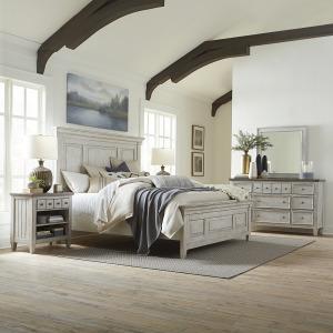 Heartland King Panel Bed, Dresser & Mirror, Night Stand
