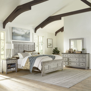 Heartland King Opt Panel Bed, Dresser & Mirror, Night Stand