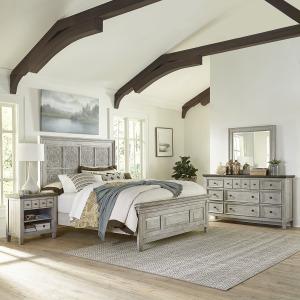 Heartland King Opt Panel Bed, Dresser & Mirror, Night Stand
