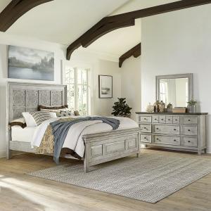 Heartland Opt Queen Panel Bed, Dresser & Mirror
