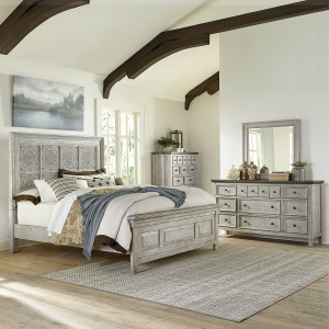 Heartland Opt Queen Panel Bed, Dresser & Mirror, Chest