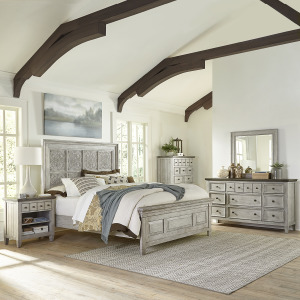 Heartland Opt Queen Panel Bed, Dresser & Mirror, Chest, Night Stand