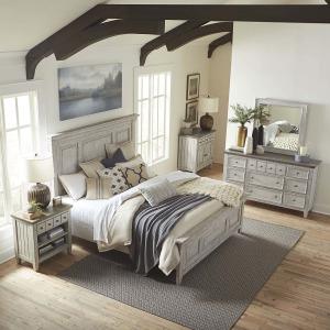 Heartland Queen Panel Bed, Dresser & Mirror, Chest
