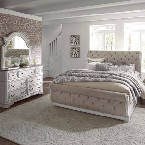 Magnolia Manor California King Upholstered Sleigh Bed, Dresser & Mirror