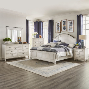 Allyson Park King Arched Panel Bed, Dresser & Mirror, Chest, Night Stand