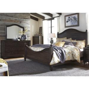 Catawba Hills King Poster Bed, Dresser & Mirror, Chest