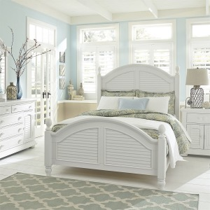 Summer House King Poster Bed, Dresser & Mirror, Chest, NS