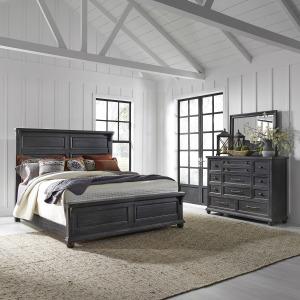 Harvest Home King California Panel Bed, Dresser & Mirror