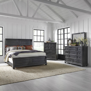 Harvest Home King California Panel Bed, Dresser & Mirror, Chest
