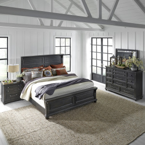 Harvest Home King California Panel Bed, Dresser & Mirror, Night Stand