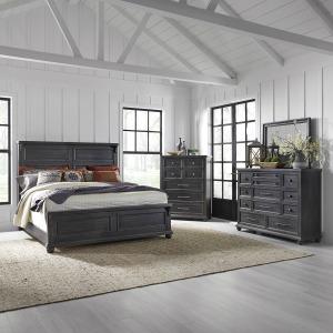 Harvest Home King Panel Bed, Dresser & Mirror, Chest