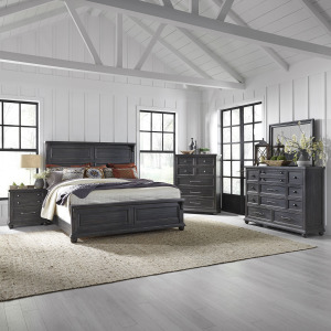 Harvest Home King Panel Bed, Dresser & Mirror, Chest, Night Stand