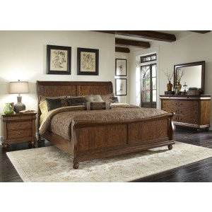 Rustic Traditions Queen Sleigh Bed, Dresser & Mirror, N/S