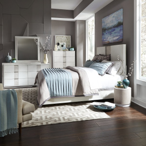 Mirage Queen Panel Bed, Dresser & Mirror, Chest