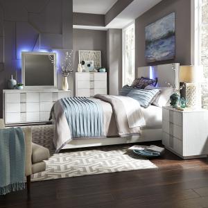 Mirage Queen Panel Bed, Dresser & Mirror, Chest, Night Stand