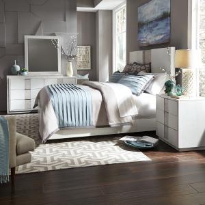 Mirage Queen Panel Bed, Dresser & Mirror, Night Stand
