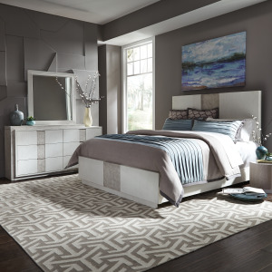 Mirage Queen Storage Bed, Dresser & Mirror