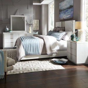 Mirage Queen Storage Bed, Dresser & Mirror, Night Stand