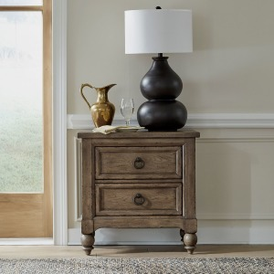 Americana Farmhouse 2 Drawer Night Stand w/ Charging Station