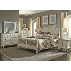 High Country Queen Poster Bed, Dresser & Mirror, Night Stand