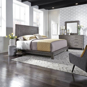 Modern Farmhouse King California Platform Bed, Dresser & Mirror
