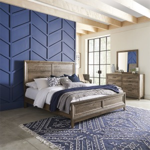 Ridgecrest King California Panel Bed, Dresser & Mirror