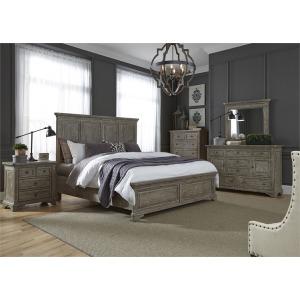 King Panel Bed, Dresser & Mirror , NS