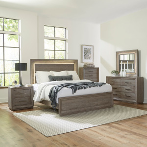 Horizons King Panel Bed, Dresser & Mirror, Chest, Night Stand