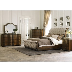 Queen Upholstered Sleigh Bed Set