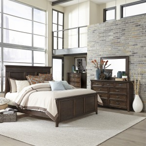 Saddlebrook Queen Panel Bed, Dresser & Mirror, Chest