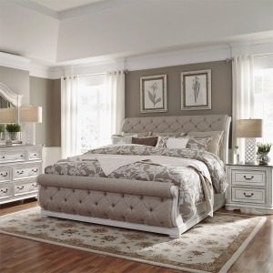 Magnolia Manor King California Upholstered Sleigh Bed, Dresser & Mirror, Night Stand