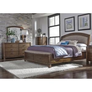 Avalon King Storage Bed, Dresser & Mirror, Chest
