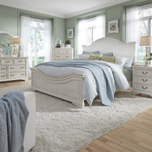 Bayside King California Panel Bed, Dresser & Mirror, Night Stand