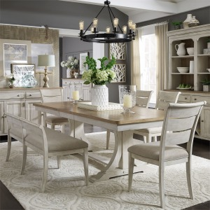 Farmhouse Reimagined Opt 6 Piece Trestle Table Set