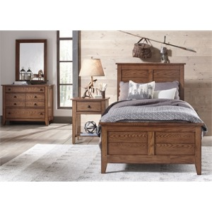 Grandpa's Cabin Youth Full Sleigh Bed, Dresser & Mirror