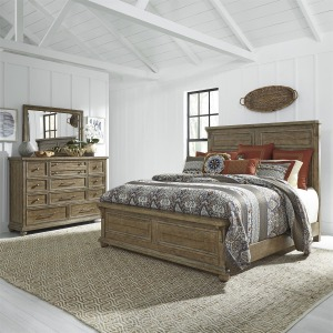 Harvest Home King Panel Bed, Dresser & Mirror