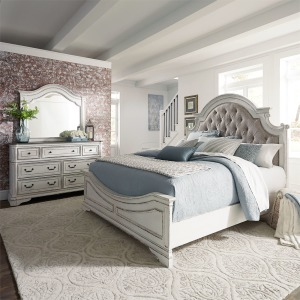 Magnolia Manor King Uph Bed, Dresser & Mirror