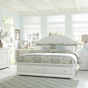 Summer House King Storage Bed, Dresser & Mirror, Chest, NS