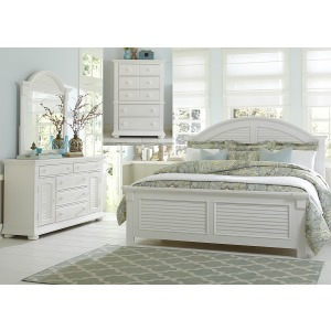 Summer House I Queen Panel Bed, Dresser & Mirror, Chest