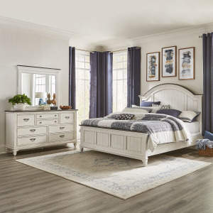 Allyson Park King Arched Panel Bed, Dresser & Mirror