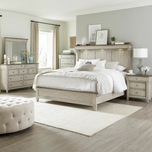 Ivy Hollow King Mantle Bed, Dresser & Mirror, Chest, Night Stand