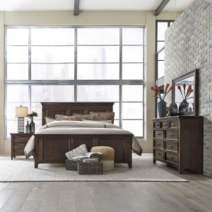 Saddlebrook King Panel Bed, Dresser & Mirror, NS