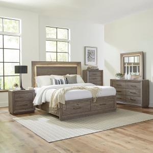 Horizons Queen Storage Bed, Dresser & Mirror, Chest, Night Stand
