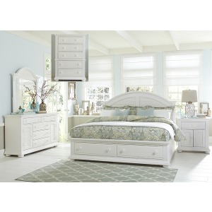 Summer House I Queen Storage Bed, Dresser & Mirror, Chest, Night Stand
