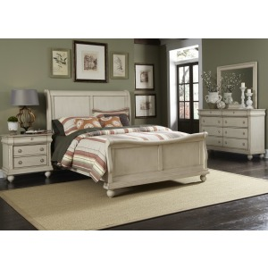 Queen Sleigh Bed, Dresser & Mirror, N/S