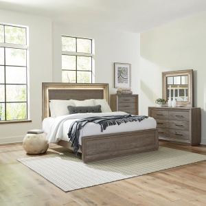 Horizons King Panel Bed, Dresser & Mirror, Chest