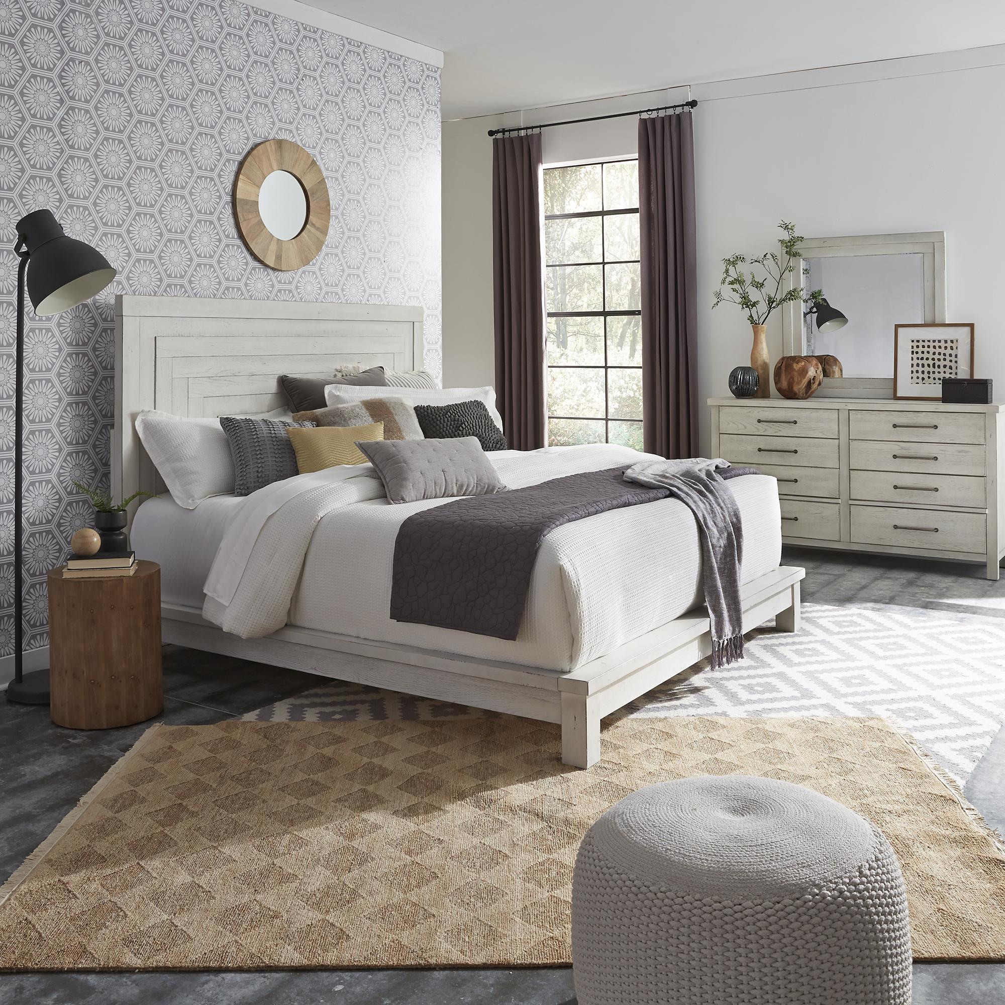 Modern Farmhouse King Platform Bed Dresser Mirror By Liberty Furniture 406w Br Kpldm Northern Mattress Furniture 1st
