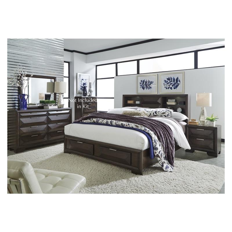Newland King Storage Bed, Dresser & Mirror, Nightstand
