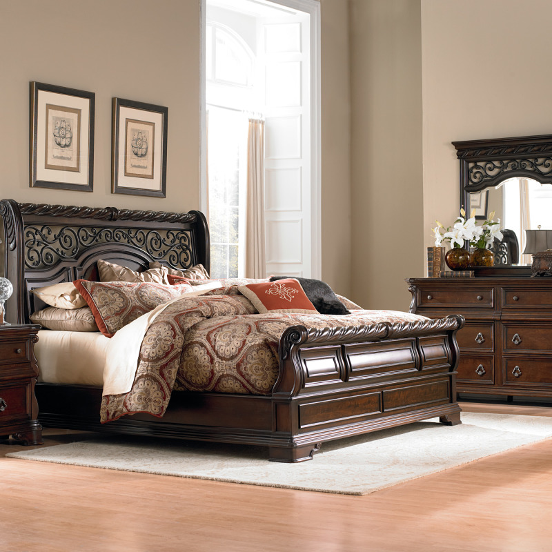 Arbor Place King Sleigh Bed, Dresser & Mirror, Night Stand