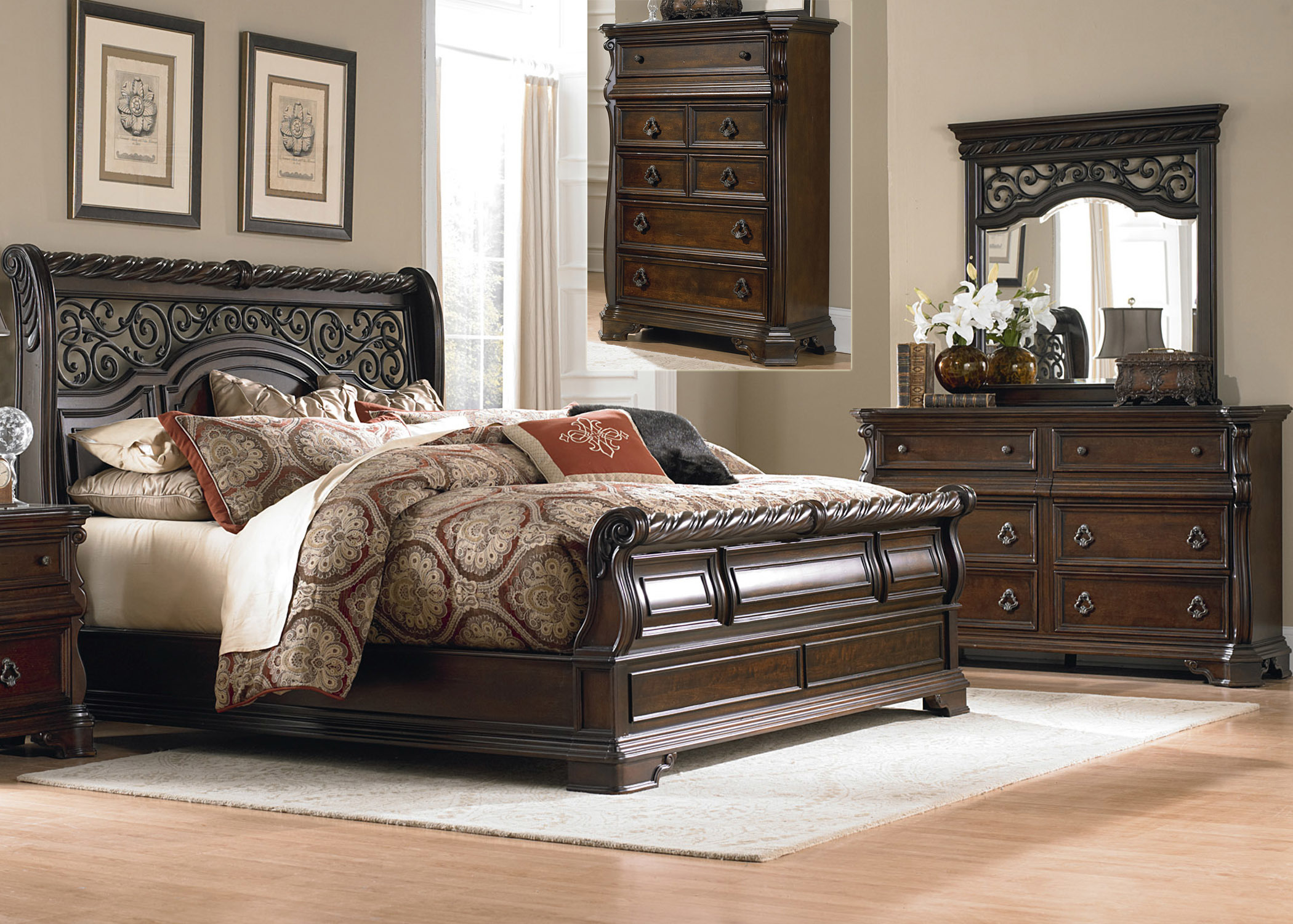 Queen Sleigh Bed, Dresser & Mirror, Chest by Samuel ...